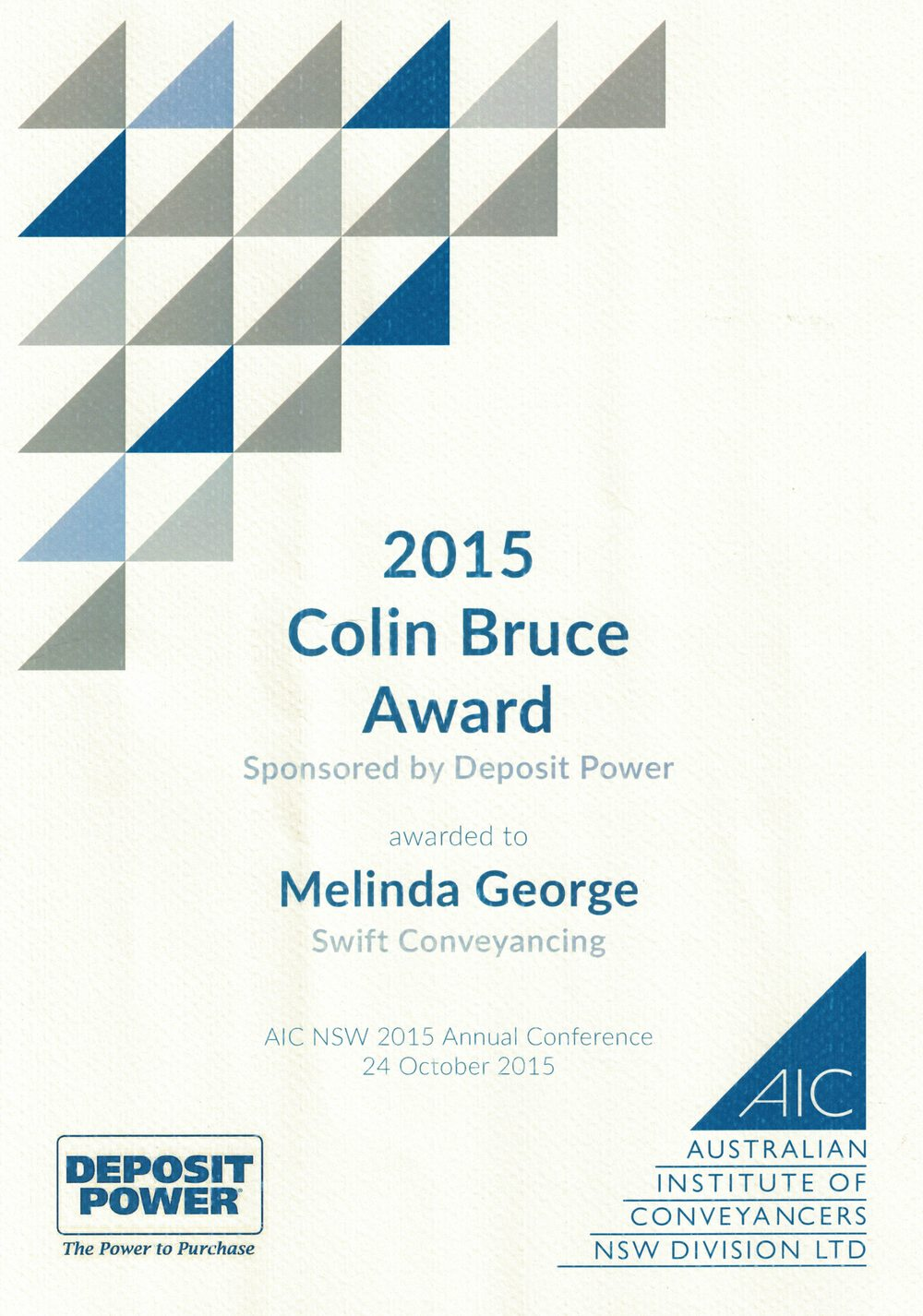 Colin Bruce Award Winner 2015