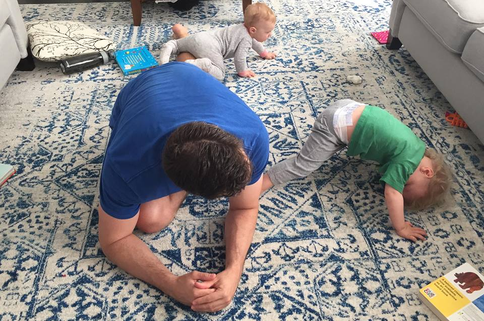 Matt Macdonald getting his morning mobility in with his kiddos as apart of the Lifestyle Challenge.