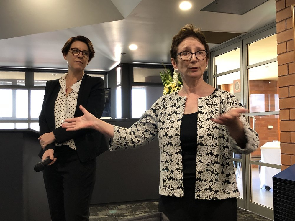 Professor Brid Featherstone and Jessica Cocks FISH convener in background