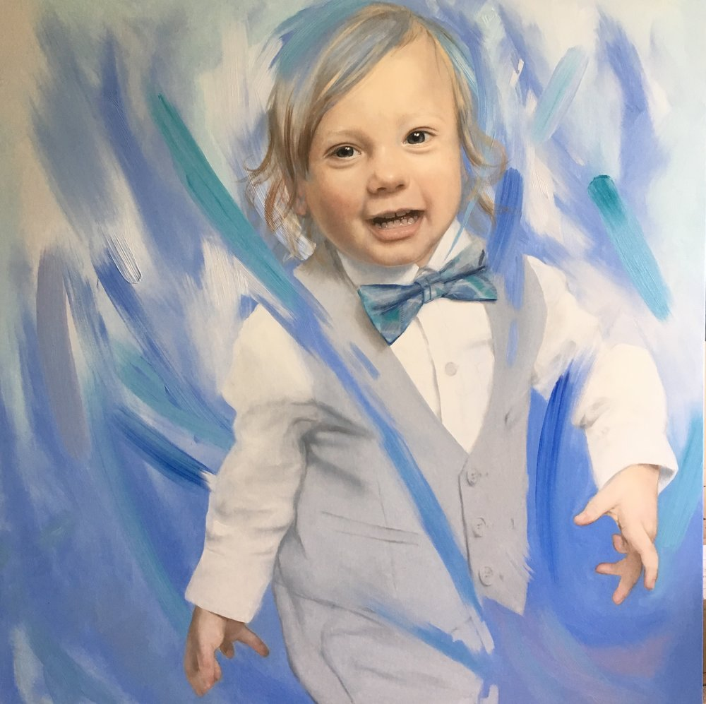 This commission was a very large 1500x1500mm portrait where the client allowed me my own creative input to capture this little boys vibrancy.