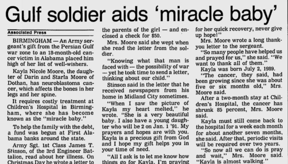 Gadsden Times-February 7, 1991/ - Gadsden Times-February 7, 1991/This article was dedicated to a sweet soldier who wrote Kayla during her time she was battling cancer & while he was at war.