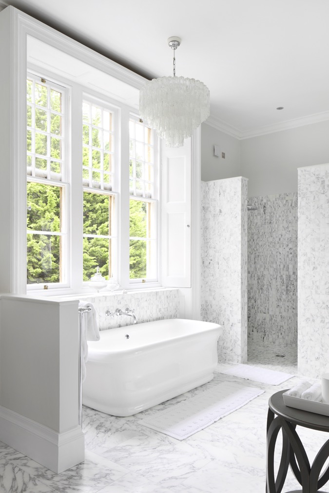 This is from our project The Manor House in the cotswolds. This bathroom is a refined and luxurious design, we like that the marble floor and tiles fit perfectly with the classic design of the manor. Click here to see the entire project.