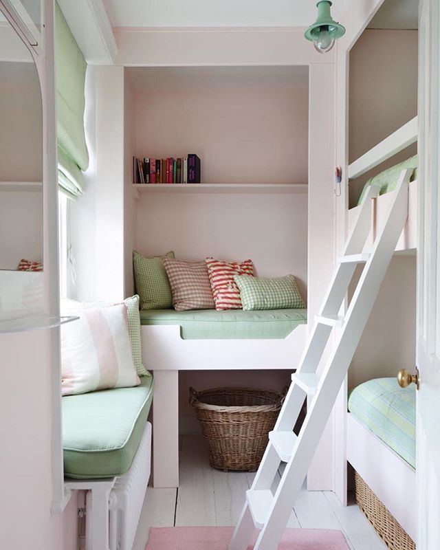 We created this girls dorm out of a tiny room in our clients characterful fisherman's cottage in Salcombe. Including bespoke joinery, Baskets for storage & nautical wall lights in the bunks for bedtime reading 📚🐋 . . . #bunkroom #haminteriors #girlsroom #coastalstyle #smallspacedesign #smallspaces #designinspo #salcombe #devon #childrensroomdecor #basketlover #mycozyweekendcorner #pinkwalls #nauticaldecor