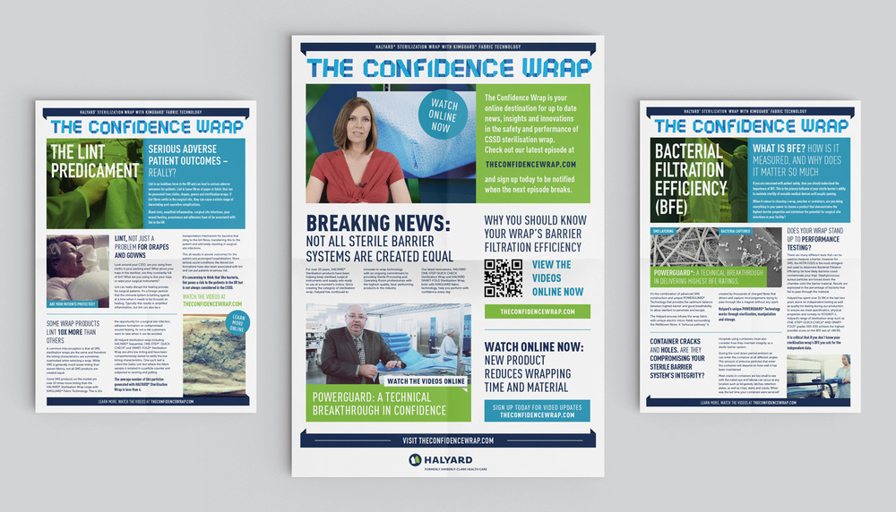 Print pieces promoting the video series