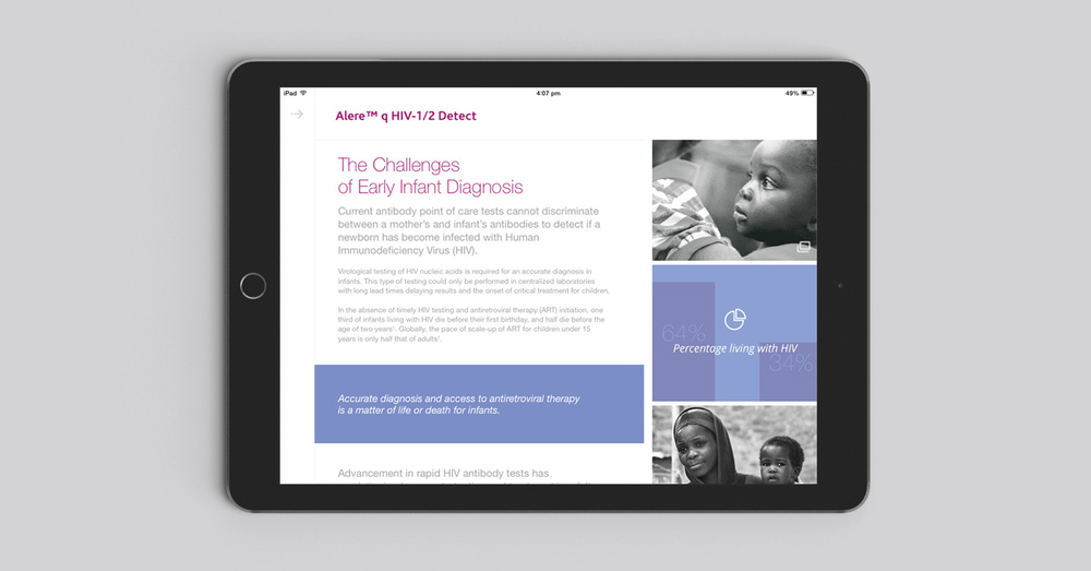 Alere HIV product iPad sales app re-design