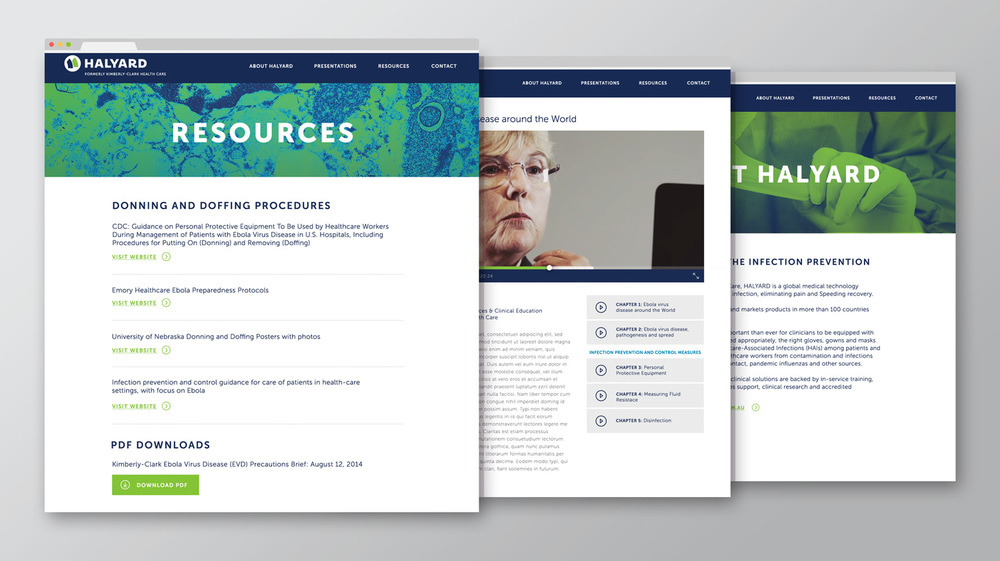 Various pages of the campaign microsite