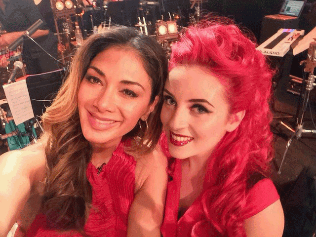 With Nicole Scherzinger on the set of Sky One's Feel the Noise