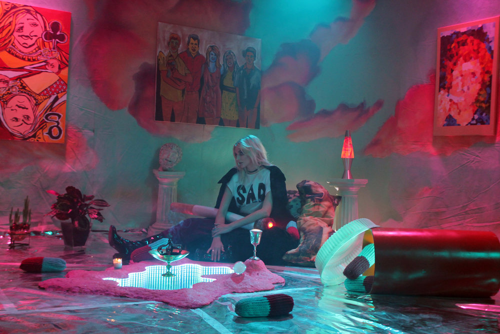 On set with Kat Moss. Set Design: Boi Boy/ Shirt by Pangea Kali Virga