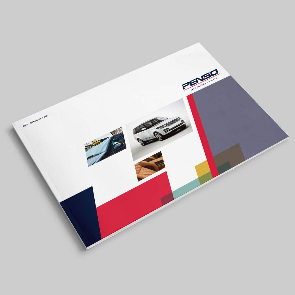 A cool new brochure design and print for Penso a 'Technology Driven' midlands business.
