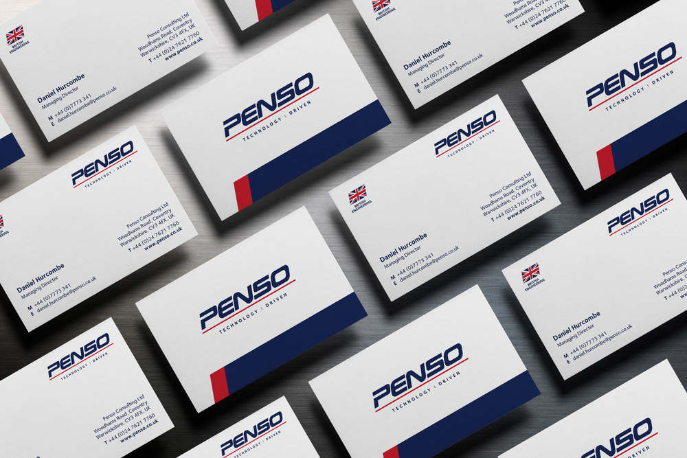 New company logo design and print for Penso Consulting, Coventry, west Midlands.