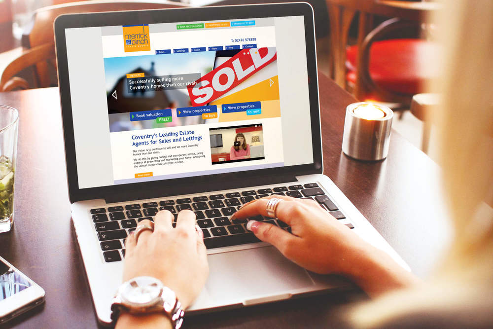 How to sell homes online... a creative new website design by Create Onsight for Coventry Estate agents Merrick binch