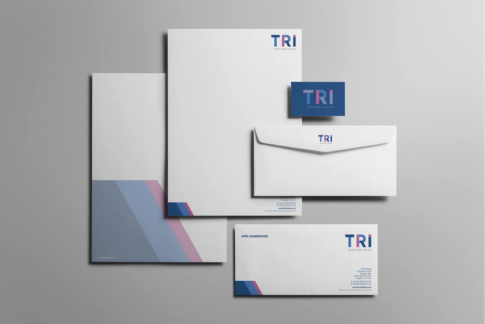 Corporate stationery design for TRI Clothing based in Coventry