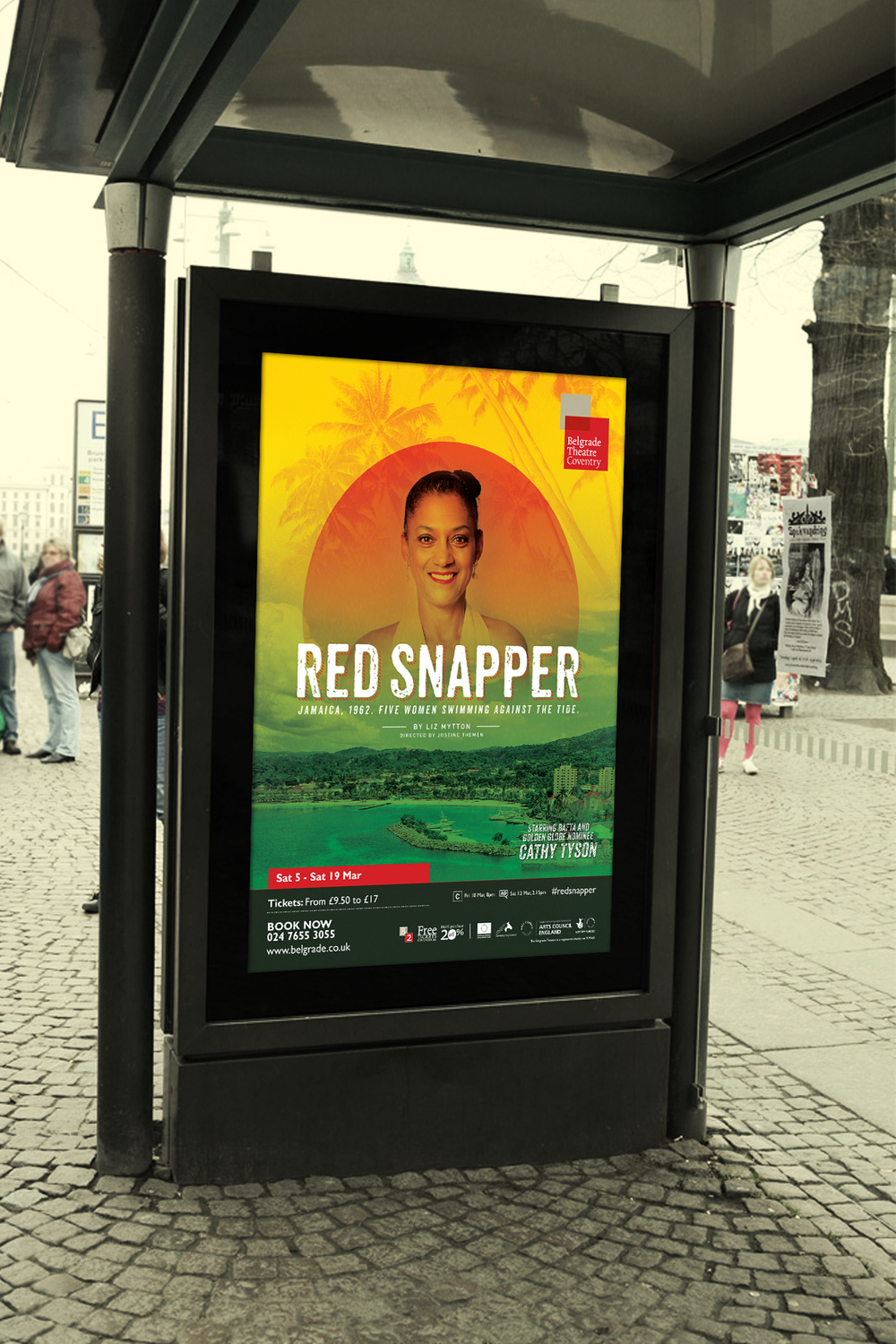 Create Onsight design of outdoor advertising for the Belgrade Theatre, Coventry