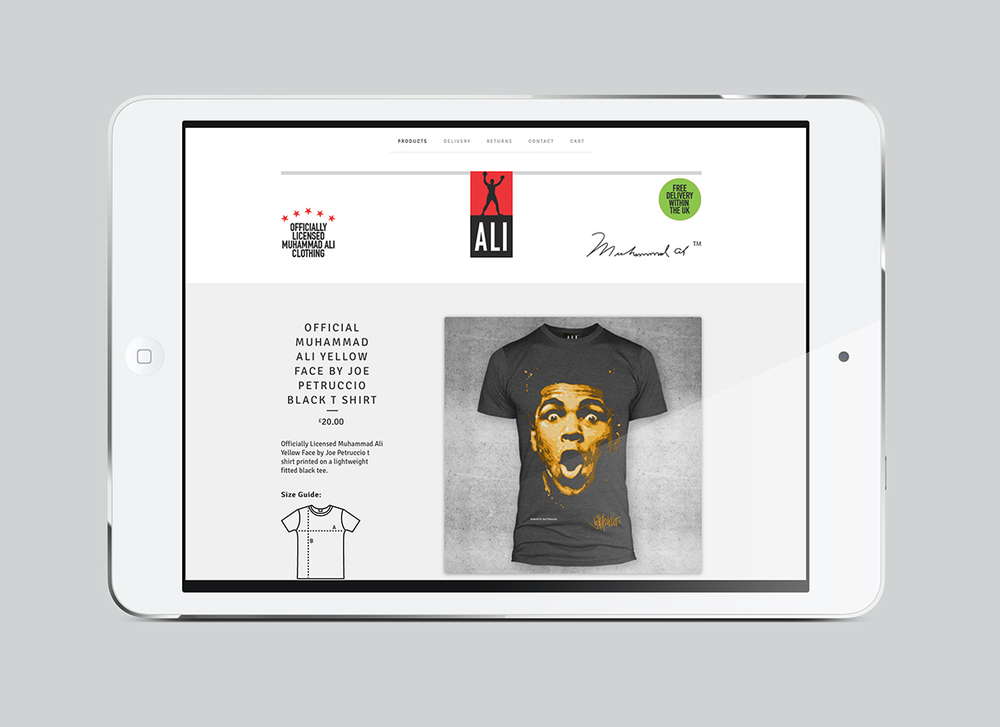 Muhammad Ali Clothing e-commerce website design.