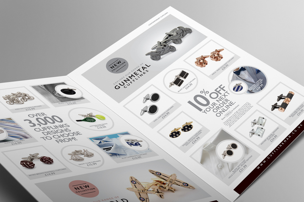 Design of a product focussed, promotional leaflet for Cufflinkman.