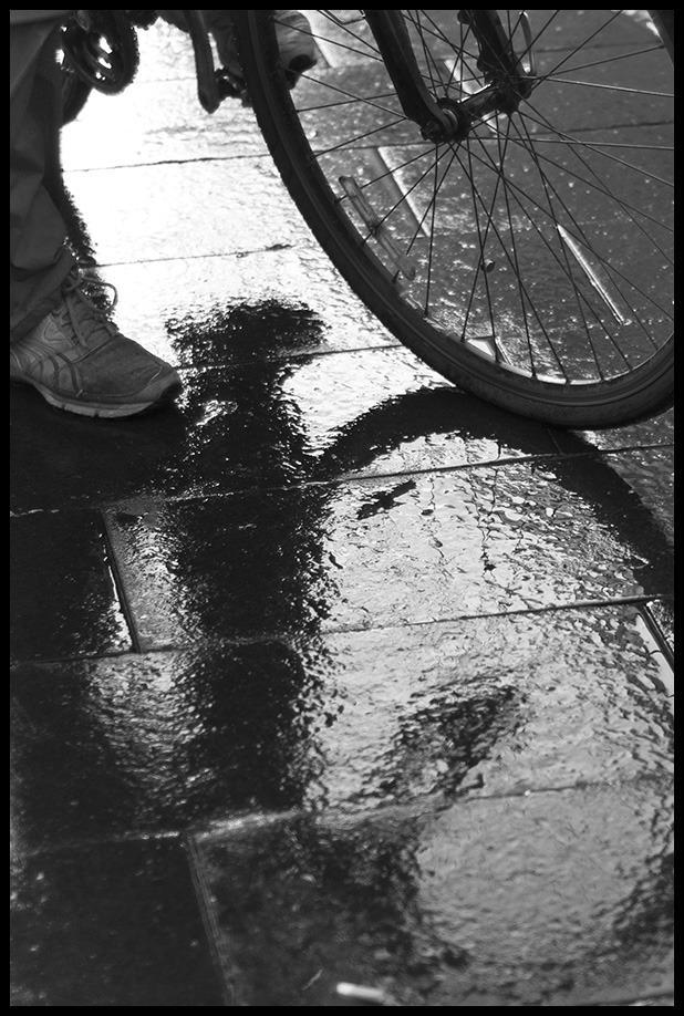biker in the rain