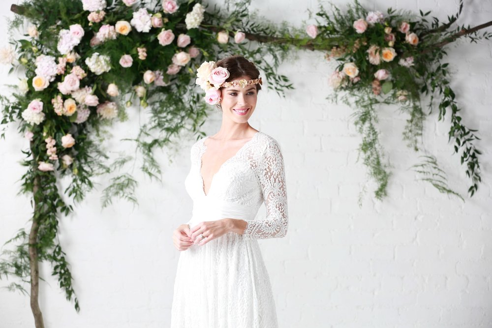'Luna' - Gorgeous soft cotton lace wedding dresses from Charlotte Balbier's 'Untamed Love' bridal collection stocked in ONE1 Bridal Shops Cardiff