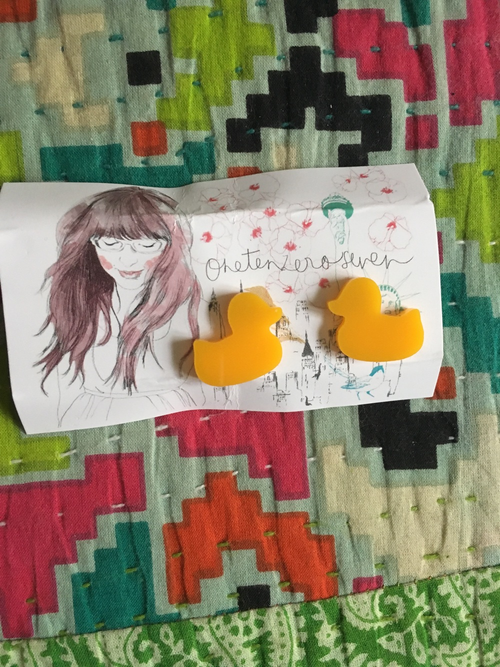 Rubber Duck Earrings from OneTenZeroSeven