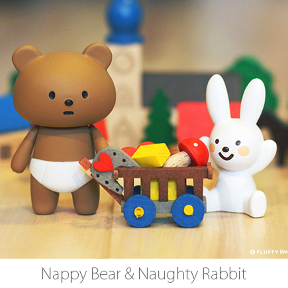 "Fluffy House - 2.5"" Nappy Bear & Naughty Rabbit - £31"