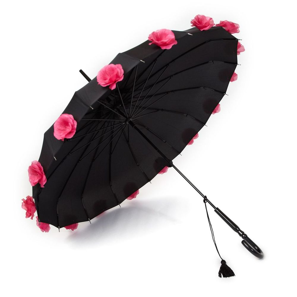 Flower Time Black with Pink Flowers Umbrella   £27.95