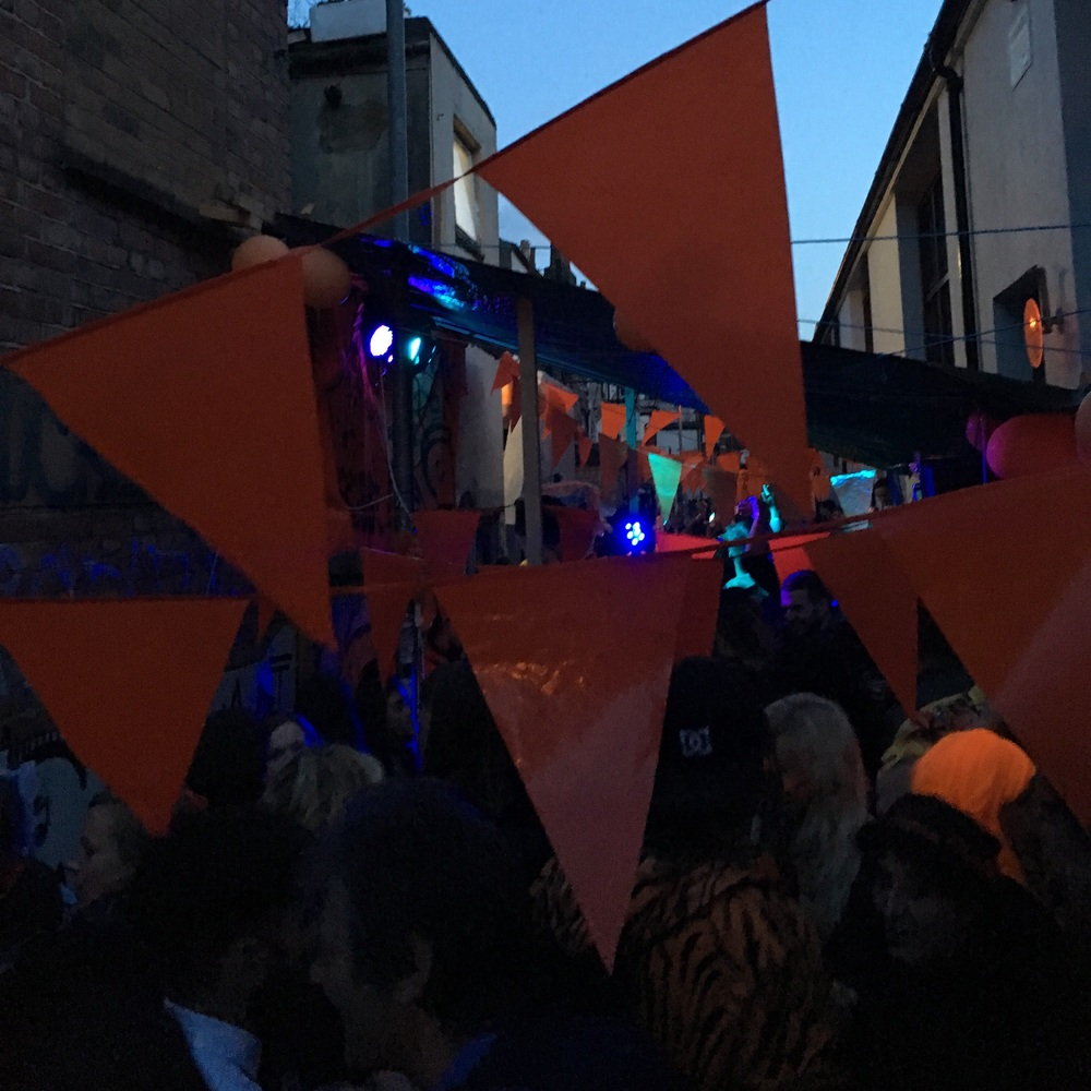 Coming back from The Ritz, discovered Orange Street, behind our flat was having a party