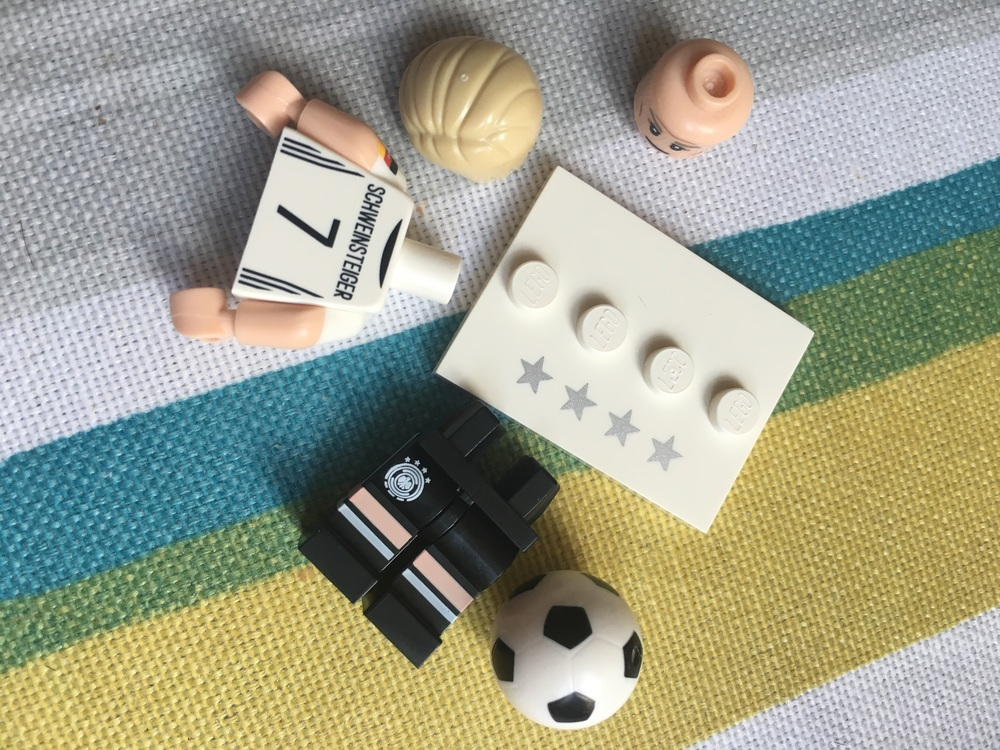Lego German Football Minifigure ready to be assembled