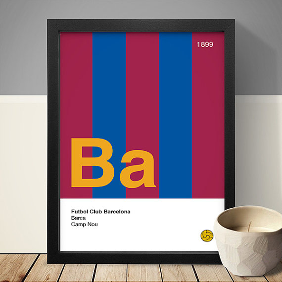 Barcelona Football Club Poster via  Etsy