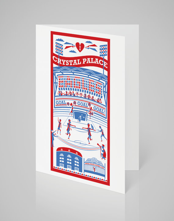 Crystal Palace Football Card via  Etsy