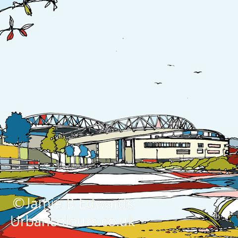 Brighton & Hove Albion Falmer Stadium print via  Urban Colours