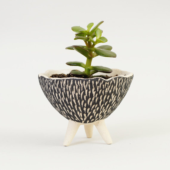Cats Ceramics - B&W Pottery Planter