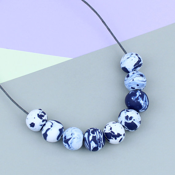 Claudia Made This - Navy Marble Necklace