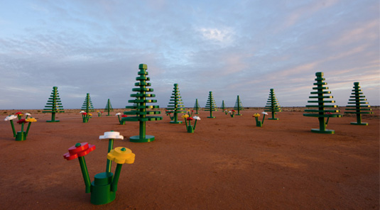 Back in 2012 Lego installed a pop-up in New South Wales town of Broken Hill to mark the 50th Anniversary of Lego being available in Australia.   www.creativereview.co.uk/a-lego-forest-blooms-in-the-australian-outback/