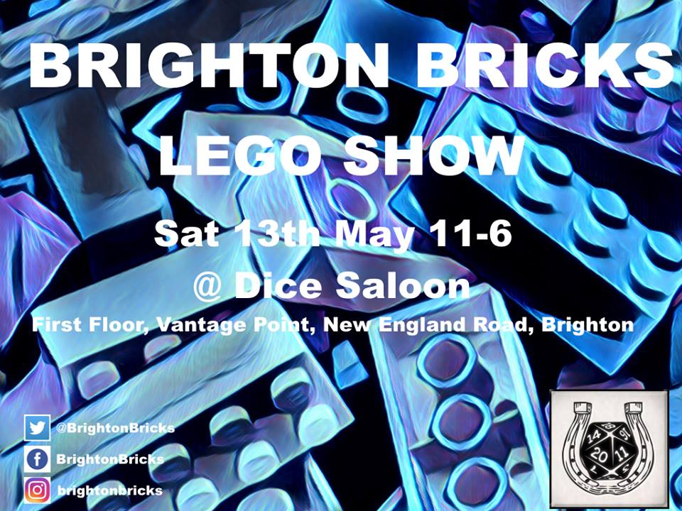 The Brighton Bricks Lego Show is coming to Dice Saloon on 13th May  There will be a Lego display as well as Lego games to play  Check out the event on  Facebook