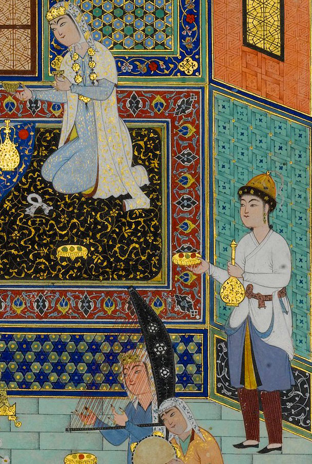 "Detail of ""Bahram Gur in the White Palace on Friday"", painted by Shaikh Zada as illustration for Nizami's  Quintets."