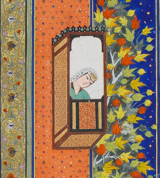 "Detail from ""Bahram Gur in the Yellow Palace on Sunday""."
