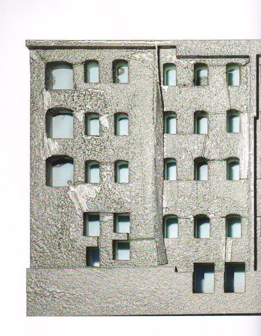 Close-up of the model illustrating Beniamino Servino's entry.
