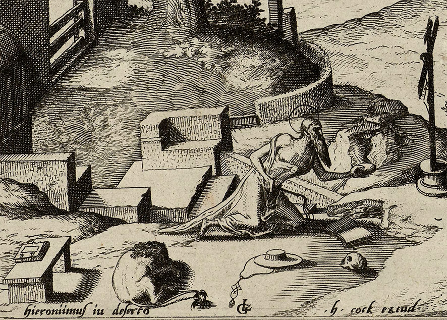 Detail from Landscape with Saint Jerome, by Johannes of Lucas van Doetechum, printed by Hieronymus Cock, 1560 - 1564