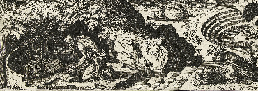 Hieronymus Cock,  Landscape with Saint Jerome , 1552.