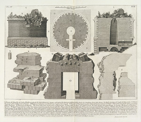 Giovanni Battista Piranesi, Plan of the Mausoleum of Caecilia Metella, wife of Marcus Crassus, from the Roman Antiquities. Published by Angelo Rotili, 1756-57.