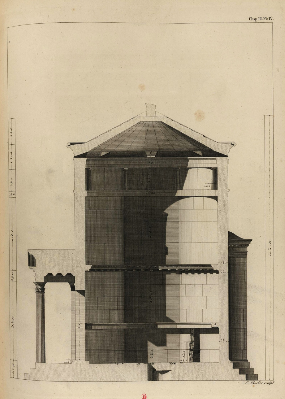 Section of he Tower of the Winds from  The Antiquities of Athens  by James Stuart and Nicholas Revett.