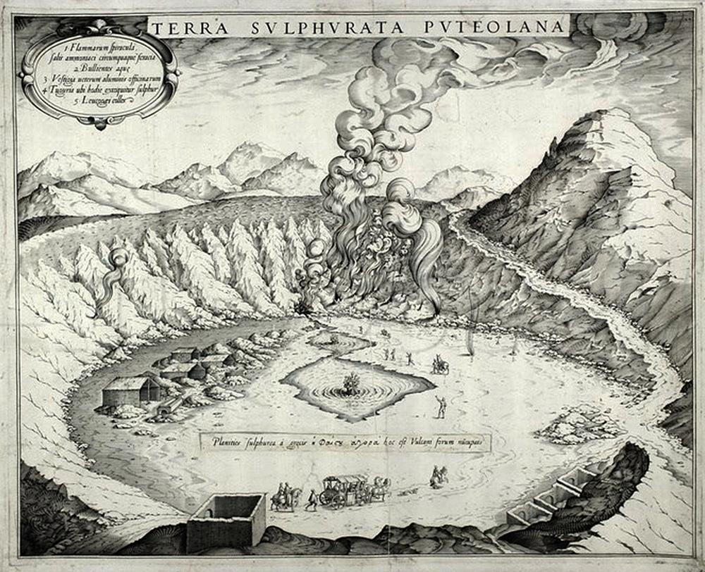 Solfatara of Pozzuoli from Michele Mercati's (1541-1593) Metallotheca (Rome:Salvioni, 1717).