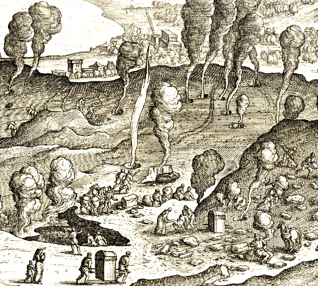 Detail from  Solfatara , engraving by Johannes Stradanus (1523-1605), printed by Philip Galle.