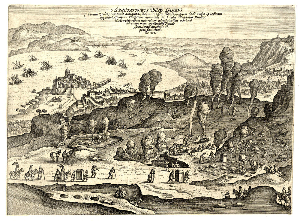 Solfatara , engraving by Johannes Stradanus (1523-105), printed by Philip Galle.