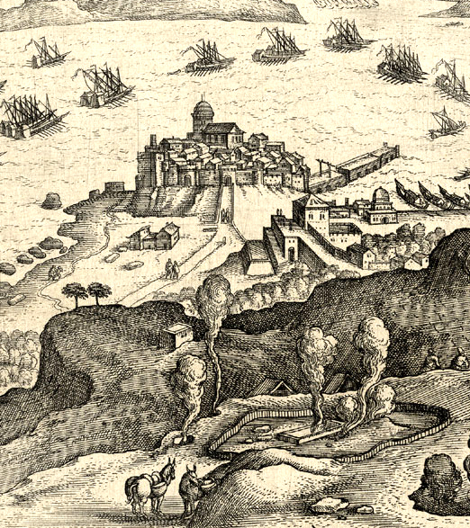 Detail from Solfatara, engraving by Johannes Stradanus (1523-105), printed by Philip Galle.