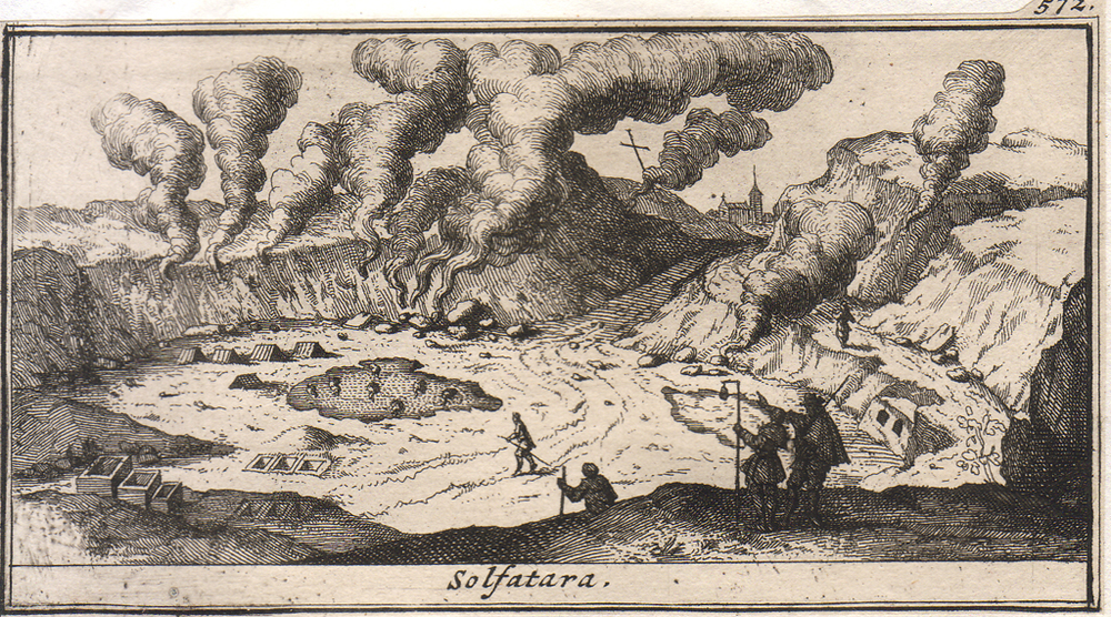 Solfatara, copper engraving, 1707. From Les delices de L'Italie (Paris: De Rogissart, 1707).