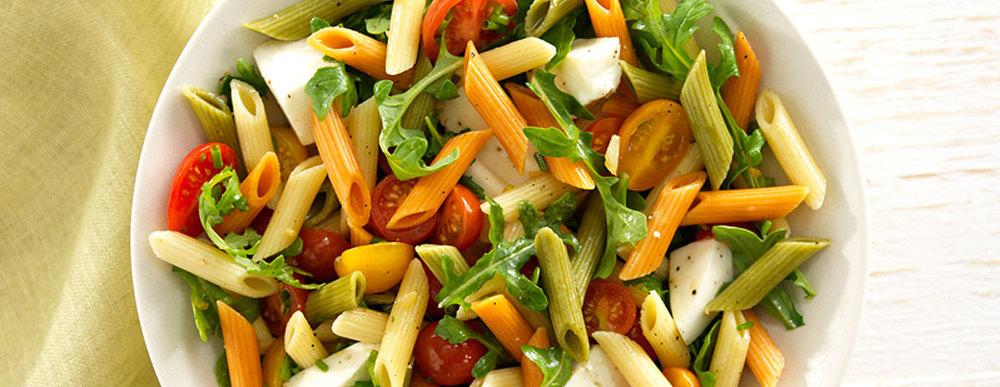 Pasta Salad with Cherry Tomatoes, Fresh Mozzarella and Basil