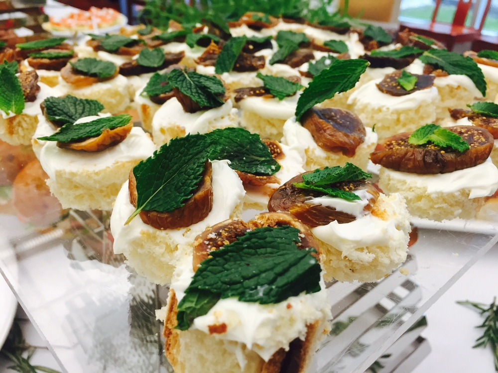 Fig and Goat Cheese on Brioche Crostini with Fresh Mint