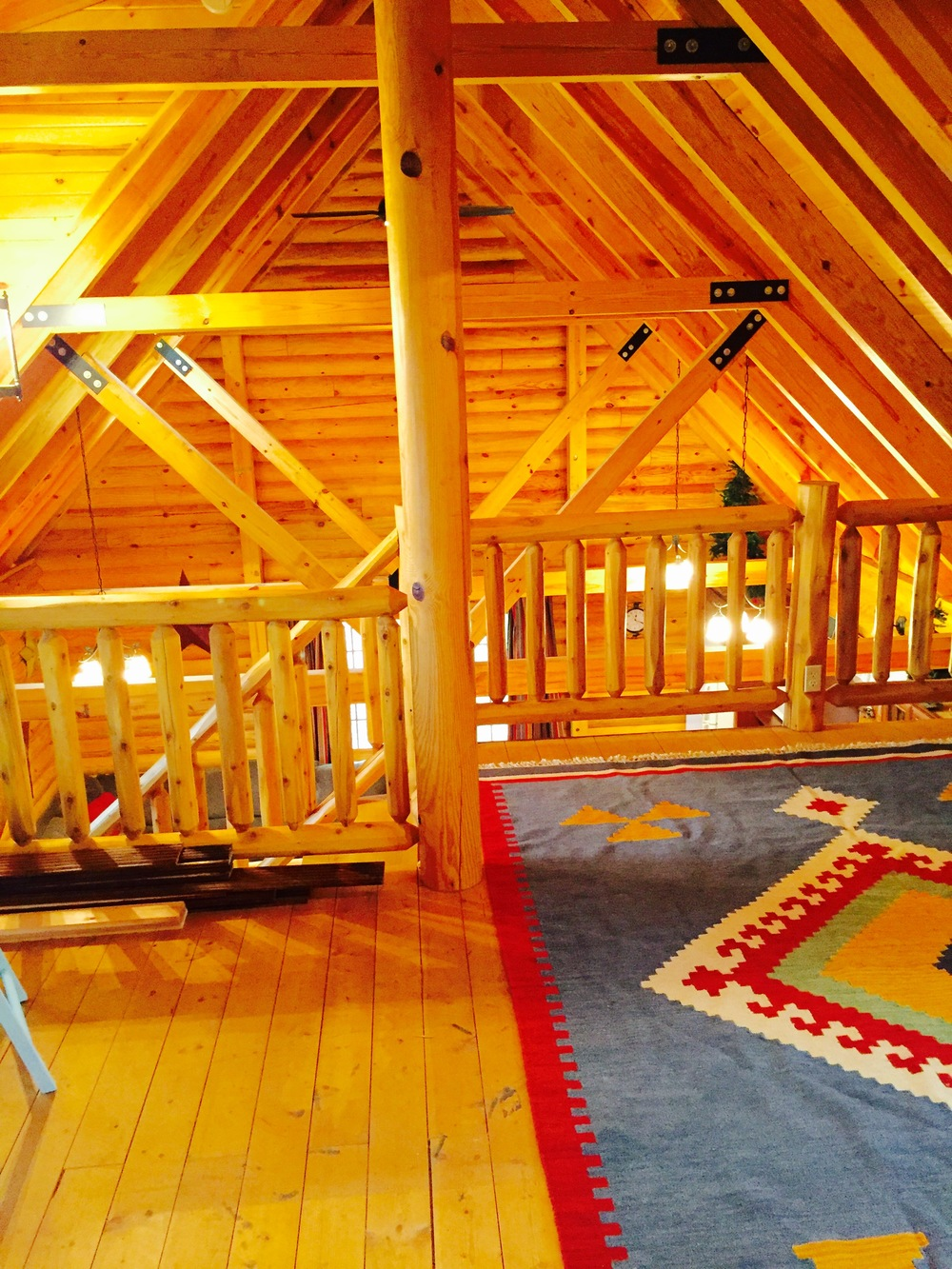 Pentwater Michigan Vacation Rental Cabin Rug and Beam View.jpg