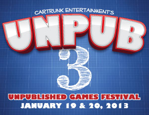 cartrunkent :       CARTRUNK ENTERTAINMENT        PRESENTS        THIRD ANNUAL UNPUBLISHED GAMES FESTIVAL       Board Game Designers, Publishers And Players Invited To Play-Testing Event          Cartrunk Entertainment will present the 3 rd  Annual Unpublished Games Festival (   Unpub 3   ) on Saturday January 19 from 10am-11pm and Sunday January 20 from 10am-6pm at the St. Thomas More Academy ( 133 Thomas More Dr.; Magnolia, DE 19962. )     Unpub 3    is an event dedicated to the improvement of yet to be published board, card, and role playing games through play-testing. Tickets are available for General Admission ($5.00) and for Exhibitors ($10.00) and can be purchased at the door or through    Unpub.net   .             Unpub 3    is one of the premier events for the play-testing of unpublished games. Designers and publishers are coming from around the country to present their latest designs for an audience of players interested in trying new board games and giving feedback to make them better. This year's event will run for two full days of game playing fun and give participants many opportunities to talk with people in the board game publishing industry.           Players are wanted and welcome. The $5.00 General Admission badge will gain players access to all the titles being presented at the event both days. Pre-registering is encouraged, but tickets will be available at the door. Come in, play some new games, talk with designers and publishers, leave feedback on what you play and help good games get great.            Exhibitors are the draw. Over 25 games are already registered, and more are welcome! The Exhibitor fee of $10.00 secures a designer/publisher 1 table for both days. Multiple games can be presented by each exhibitor (one at a time.) Sunday Morning exhibitors are welcome at 9am for a special coffee and donuts talk with some of the publishers at the event. Other talks are being scheduled.            Registration and ticket information for General Admission or Exhibitors is available on    Unpub.net              Several upcoming games from publishers like Dice Hate Me Games, Clever Mojo Games, Nevermore Games, Crash Games, and Eagle-Gryphon Games have participated in the Unpub Network in the last year. Come try out the next great game at    Unpub3   !             ###     For more information contact John Moller by email at    john@cartrunk.net   . Information on    Unpub 3    and the Unpub Network can be found on    Unpub.net   .
