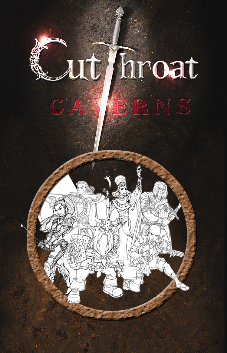 First rough concept for the Cutthroat Caverns box. Courtesy of Smirk & Dagger Games.